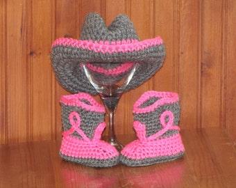 Newborn Baby Crochet Cowboy Hat & Boots Photo Prop.