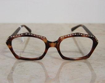 VINTAGE Deadstock Marine USA Jeweled Tortoise Pentagon Eye Glasses Frames