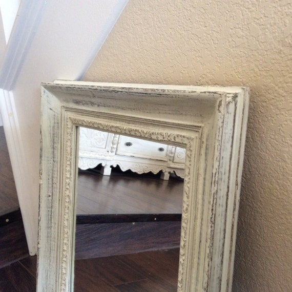 Rustic white mirror for sale wood mirror wall by shabbyshores - Shabby chic decor for sale ...