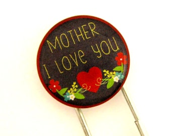 Mother I Love You, Jumbo Paperclip Bookmark with Glass Tile