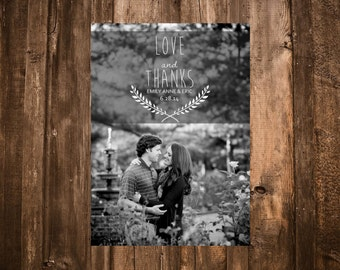 Wedding Photo Thank You Cards; Love & Thanks; Printable or set of 10