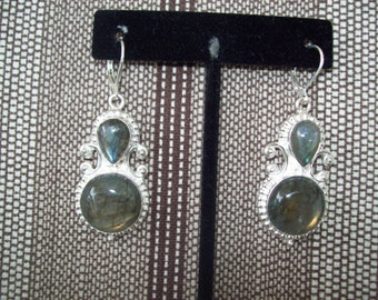 Labradorite Earrings - Sterling Silver Wires