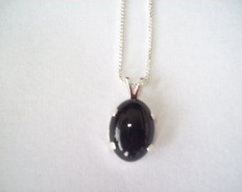 Genuine Black Onyx Pendant in .925 Sterling Silver