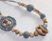 Crochet Nursing Teething Breastfeeding Necklace With Flowers for Moms-Choose Your Bead Color