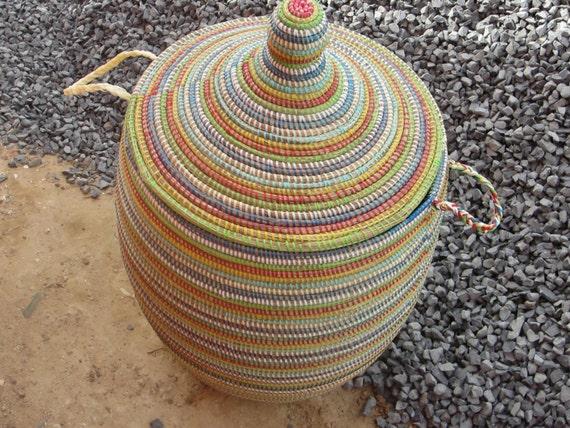 Panier Osier Africain : Grand multicolore en osier panier ? linge paniers tiss?s la