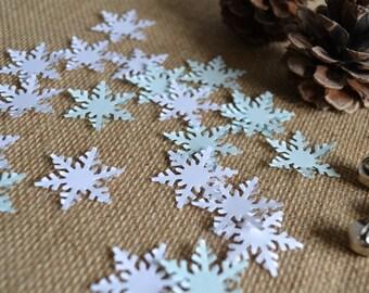 snowflake confetti, christmas party confetti, christmas card confetti, holiday confetti, frozen party theme confetti - 50 pieces