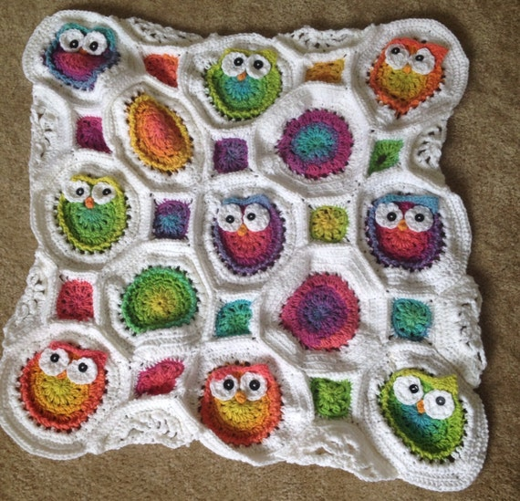 Crochet Owl Baby Blanket : Items similar to Crochet Owl Baby Blanket-Afghan on Etsy
