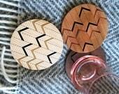 Wood Coasters - Set of 4 - Engraved Wood Coasters - Chevron - Herringbone - set of 4