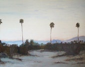 Morning Palms 30 in x 20 in Original Palette Knife Oil  on Canvas Palm Springs CA
