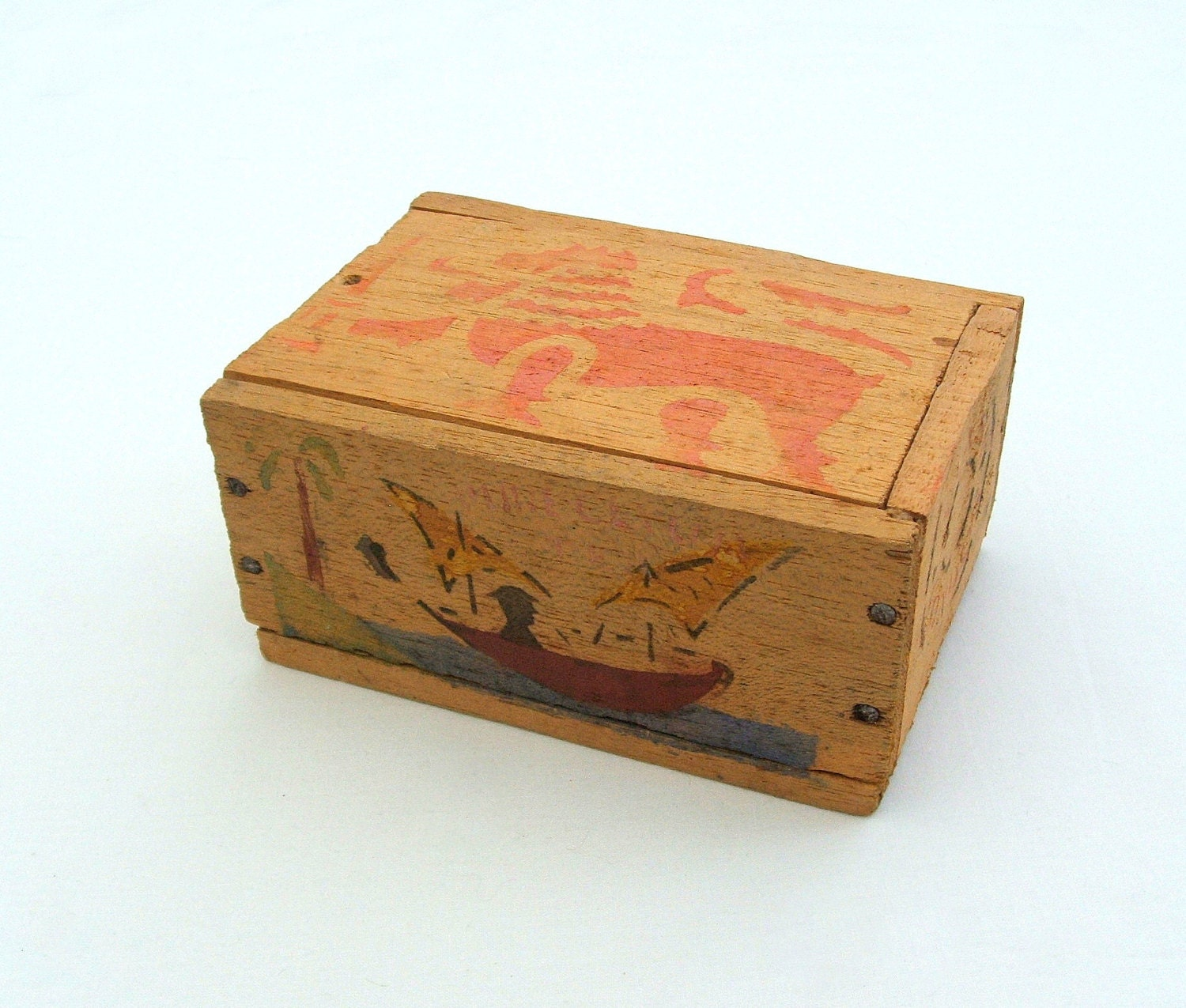 Small Vintage Wooden Tea Box Ceylon Tea