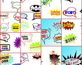 Super Hero Party word balloons, Set 2...Personalized printable PDF. A must- have for your upcoming Super Hero Themed party.