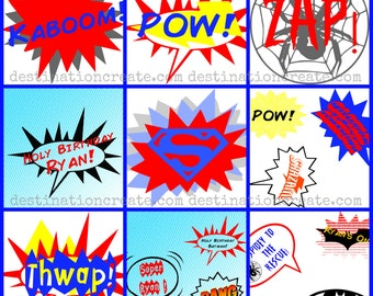 Super Hero Party word balloons Set 1 & Set 2...Personalized printable PDF. A must- have for your upcoming Super Hero Themed party.