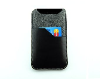 Jolla Smartphone Leather and Wool felt Case,Jolla Smartphone Pouch Case, Jolla Leather Pouch Sleeve Case Creative Handmade in London, UK,
