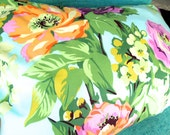 Crochet Edge Pillowcase - BIG Beautiful Flowers - Reversible