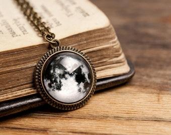 Tiny full moon pendant, brass pendant, glass pendant, antique bronze pendant, antique brass necklace, glass necklace, full moon necklace