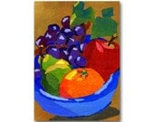 Fresh Fruit Bowl - Greeting Card or Print - Kitchen Decor - Colorful  Collage Art Design by Linda Henry (CMEM2013070)