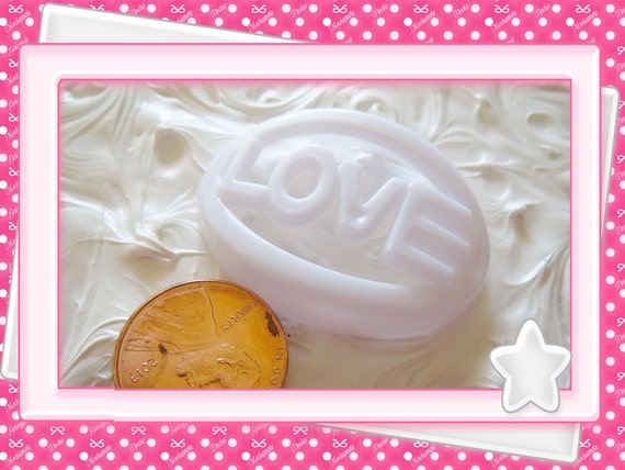 0: )- CABOCHON -( White LOVE Large Charms