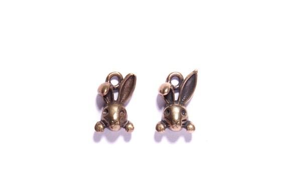Dainty Bunnies - Rabbit pendants- Antique bronze pendants for necklace and bracelet designs.