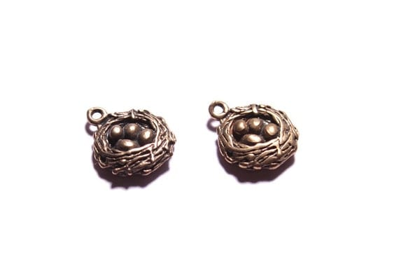 Bird Nest Pendants. Cute and dainty solid bronze mini charms for jewelry design