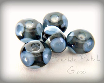 Gray on Gray Handmade Lampwork Glass Bead set of 5,  Small Spacers