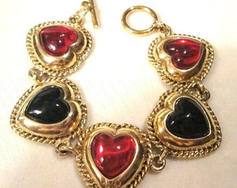 Vintage Black & Red Heart Bracelet