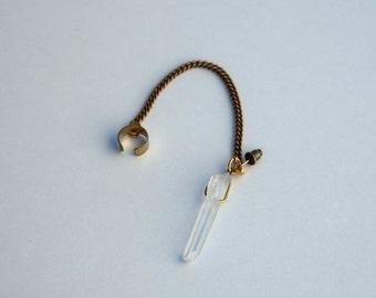 Clear Quartz Ear Cuff, Raw Crystal Brass Earring, Single Brass Earring, Bohemian Gift for Her