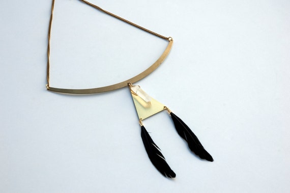 Statement Geometry Choker Necklace, Black Feather Choker, Triangle Aztec Necklace, Festival Coachella Necklace