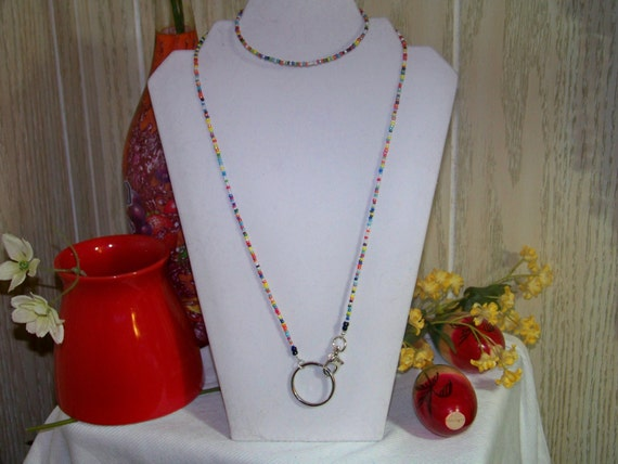 Lanyard - Seed Beads, Easy Clip Style, ID Badge holder,key holder, eyeglass holder