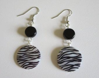 Zebra Stripe Disc Earrings