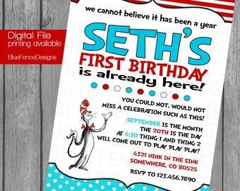 Dr. Suess Birthday Party Invitation, Cat in the Hat, First Birthday,  customizable, digital, printable