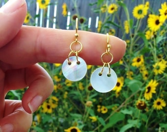 Gold Antique Mother of Pearl Dangle Earrings
