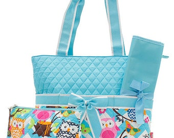 3 Piece Personalized Quilted Blue Owl Diaper Bag with Changing Pad And Cosmetic/Accessory Bag