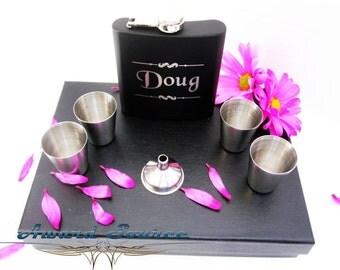 Men's Valentine's Day Gift - Boyfriend Valentine's Gift 6oz Stainless Steel FLASK Gift Set Black Free Engraving