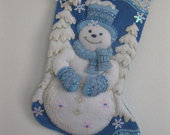 Winter Wonderland Snowman Christmas Stocking