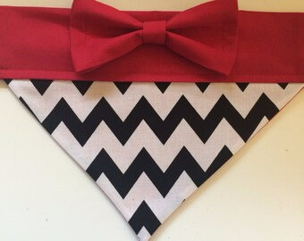 Dog Bandana - Black Chevron with Red Bow