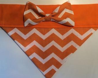 Dog Bandana - Orange Chevron with Bow