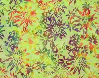 5007 Anthology Bali Batik Fabric Sunflowers Green Brown By The Yard