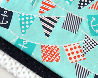 Nautical Minky Baby Blanket - MADE TO ORDER - Ahoy Matey Minky Blanket - Bunting Baby Blanket- Baby Blanket - Cot Blanket - Pirate bedding