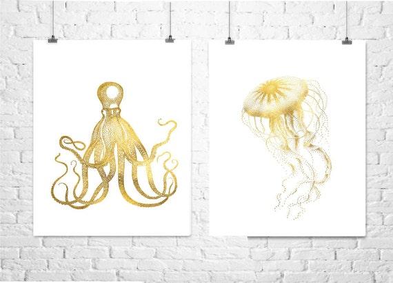 Octopus and Jellyfish Prints , Beach Decor, Gold Foil Print, Shiny gold finish, Nautical Decor, Beach Home Decor, Art Print , Beach Poster