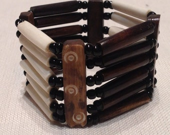 Bone Bracelet brown and white tribal Indian style