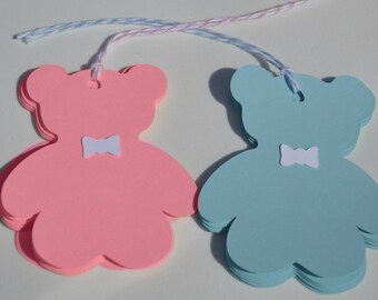 Teddy Bear Tags, Baby Shower Tags, Gender Reveal Tags, Teddy Bear Favor Tags, Baby Shower Favor Tags