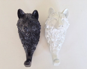 Wolf coat hooks, black and white, set of two