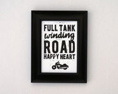 Full Tank Winding Road Happy Heart motorcycle 5 x 7 print