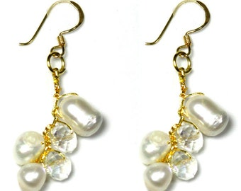 White Pearl and Crystal Earrings With Gold Accent for Women and Teens