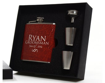 9, Personalized Groomsmen Gifts, Flask Gift Sets