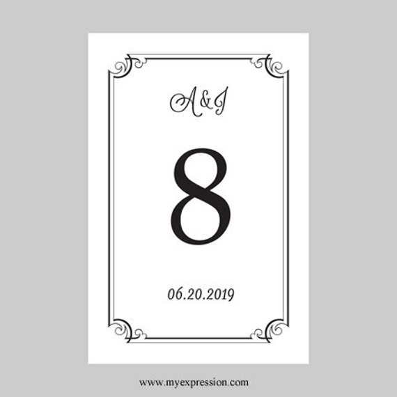 wedding table number card template 4x6 flat black ornate. Black Bedroom Furniture Sets. Home Design Ideas