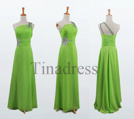 Custom Lime Green One Shoulder Beaded Long Bridesmaid Dresses 2014 Prom Dresses Evening Dresses Party Dress Evening Gowns Homecoming Dresses