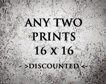 Discounted set of 2 photo prints size 16x16 - Set of  Photography Prints - Any 2 image prints 16x16 - Home Decor Photo Sale