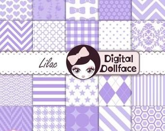 Lavender, Lilac Digital Paper, Purple Scrapbook Paper, Baby Girl Printable