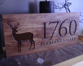 Wood Carved Address Plaque Rustic Family Last Name Welcome Deer Silhouette carved Wooden Sign Cottage Cabin Decor Doe Buck Benchmark Signs